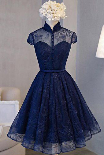 Chic Lace Short Homecoming Dresses Blue High Neck Short Homecoming Dresses
