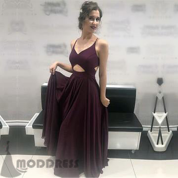 Chic V Neck Cross Back Long Prom Dresses Chiffon Formal Evening Gowns,HS729