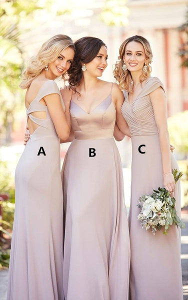 Chiffon Long Bridesmaid Dresses A-Line Cheap Bridesmaid Dresses
