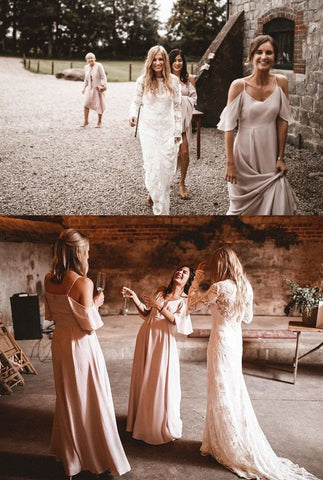 Chiffon Long Bridesmaid Dresses Spaghetti Straps Bridesmaid Dresses A-Line Bridesmaid Dresses