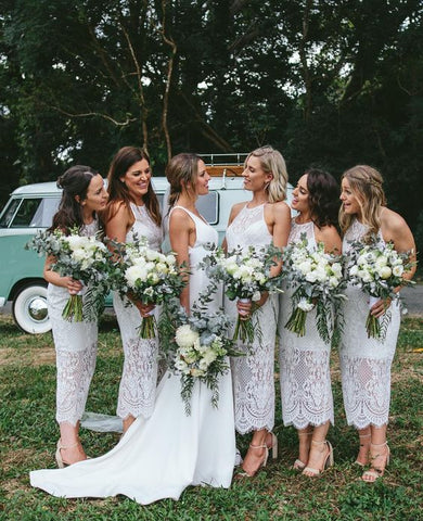 Country Long Bridesmaid Dresses Lace Bridesmaid Dresses White Bridesmaid Dresses