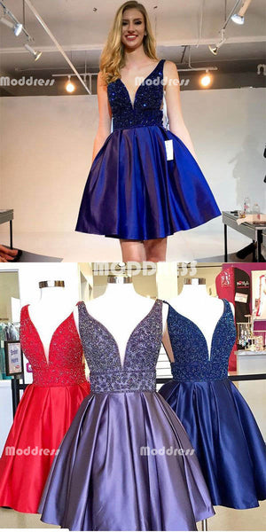 Cute Beaded Short Homecoming Dresses V-Neck Prom Dresses Knee Length Evening Formal Dresses,HS837