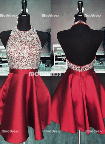 Cute Beading Short Homecoming Dresses Halter Evening Dresses Backless Knee Length Formal Dresses,HS821