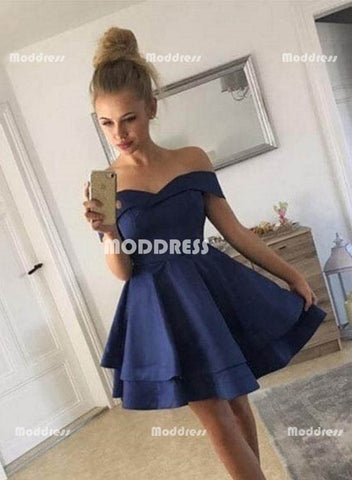 Cute Blue Short Homecoming Dresses Off the Shoulder Prom Dresses Knee Length Evening Formal Dresses,HS822