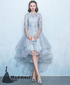 Cute High Low Homecoming Dress Applique Evening Dress Tulle Formal Dress