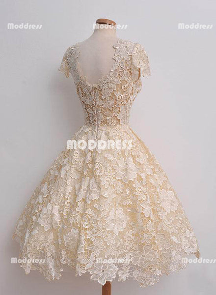 Cute Lace Short Homecoming Dresses V-Neck Prom Dresses Short Sleeve Evening Formal Dresses,HS839