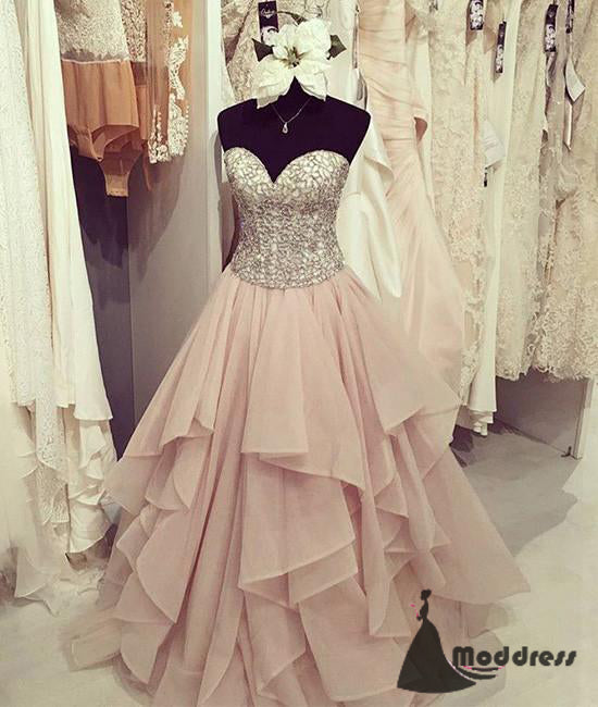 Cute Long Prom Dress Sweetheart Pink Beaded Evening Dress Formal Dress,HS465