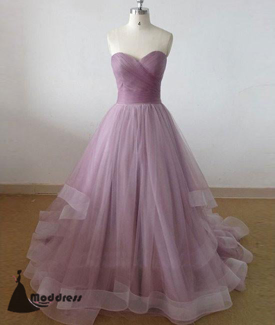 Cute Sweetheart Long Prom Dresses Tulle A-Line Formal Evening Dress,HS438