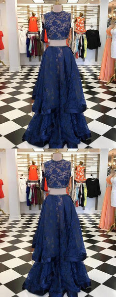 Dark blue lace two pieces long prom dress, dark blue evening dress