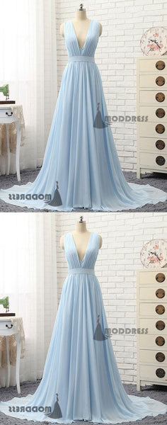 Deep V-Neck Bridesmaid Dresses A-Line Prom Dresses Sleeveless Formal Dress