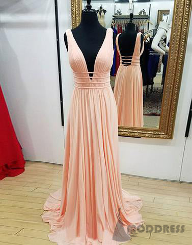 Deep V-Neck Long Bridesmaid Dresses Sleeveless Cheap Bridesmaid Dresses,HS692