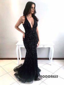 Deep V-Neck Long Prom Dress Black Mermaid Evening Dress Sleeveless Formal Dress