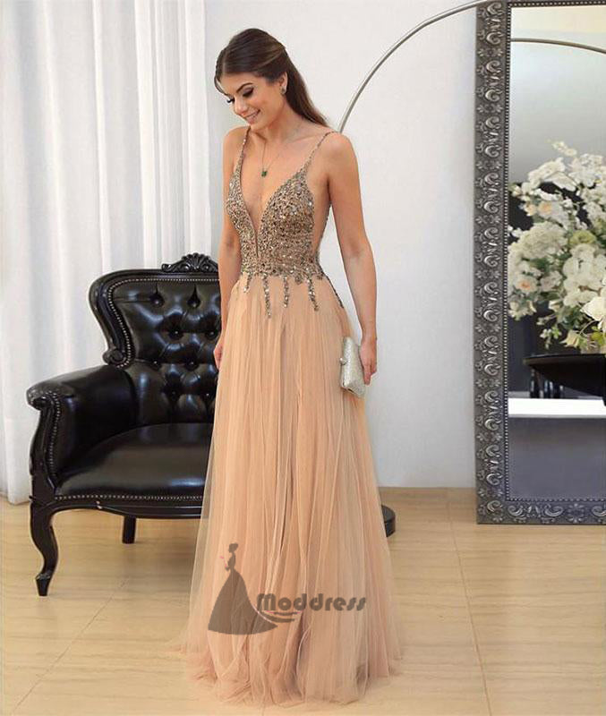 Deep V-Neck Long Prom Dress Sequins Tulle A-Line Evening Dress,HS372