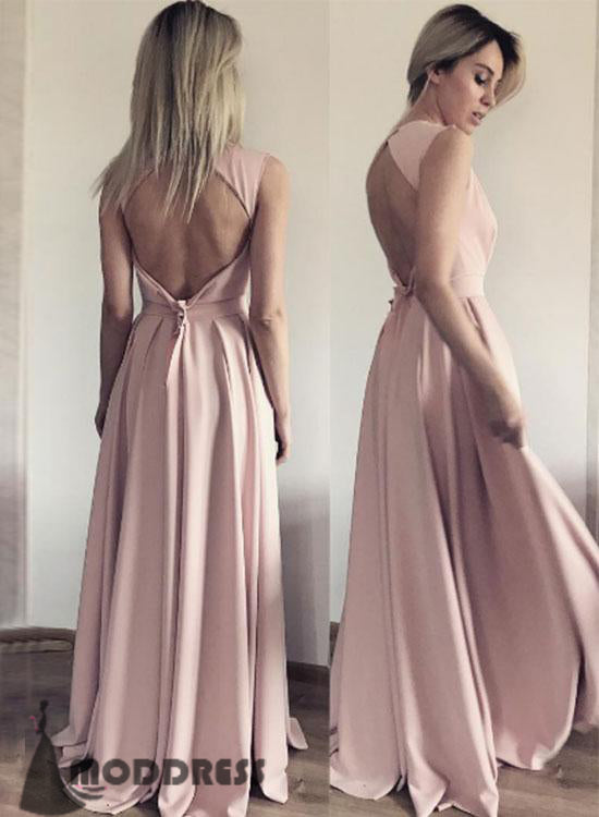 Deep V-Neck Long Prom Dresses Backless Evening Dresses Chiffon Blush Pink Formal Dresses,HS595