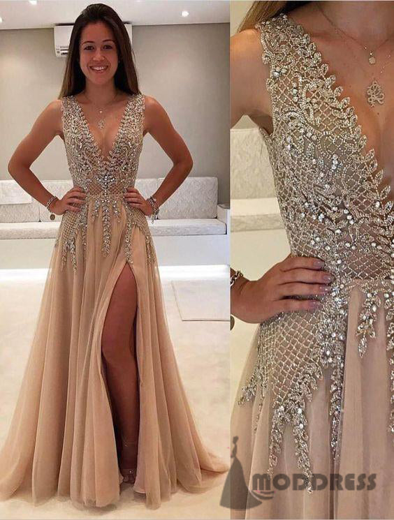 Deep V-Neck Long Prom Dresses Beading Evening Dresses Backless Formal Dresses,HS646
