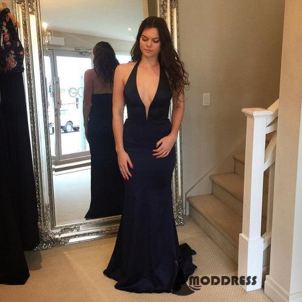 Deep V-Neck Long Prom Dresses Halter Evening Dresses Mermaid Formal Dresses.