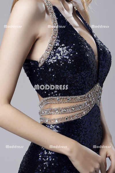 Deep V-Neck Long Prom Dresses Sequins Beaded Evening Dresses Mermaid Backless Formal Dresses