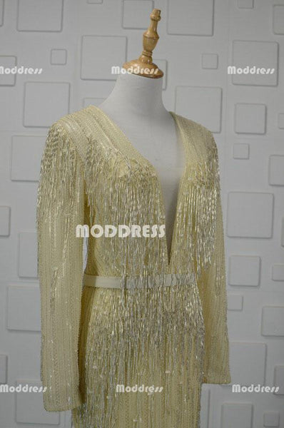 Deep V-Neck Long Prom Dresses Sequins Beaded Evening Dresses Mermaid Long Sleeve Formal Dresses