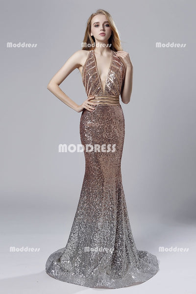 Deep V-Neck Long Prom Dresses Sequins Mermaid Evening Dresses Halter Backless Formal Dresses