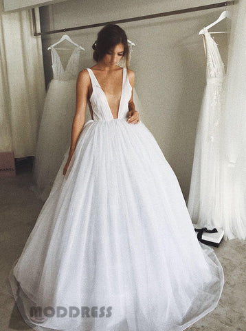 Deep V-Neck Long Prom Dresses White Evening Ball Gowns Backless Formal Dresses,HS658