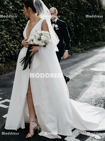 Deep V-Neck Wedding Dresses Sleeveless Long Prom Dresses with High Slit