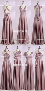 Dusty Pink Convertible Long Bridesmaid Dresses Cheap Wrapped Bridesmaid Dresses Simple A-Line Bridesmaid Dresses