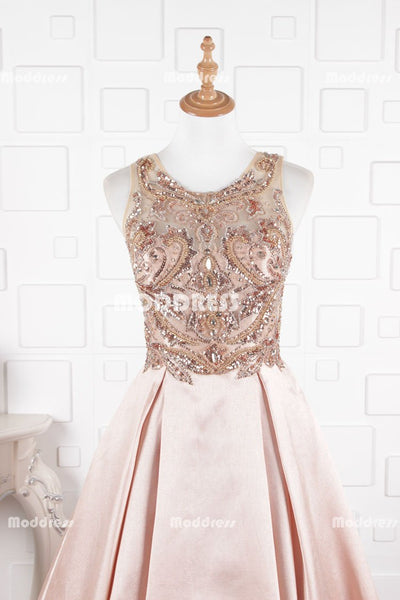 Dusty Pink Long Prom Dresses Beaded Evening Dresses Satin A-Line Formal Dresses