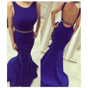 royal blue prom dress, long prom dress, backless prom dress, mermaid prom dress, 2017 evening dress, BD517