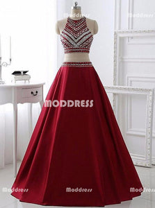 Elegant 2 Pieces Long Prom Dresses Beaded Evening Dresses Satin A-Line Formal Dresses