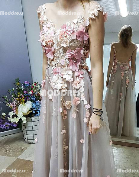 Elegant 3D Floral Applique Long Prom Dresses Backless Evening Dresses Tulle A-Line Formal Dresses