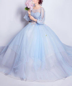 A-line Prom Dresses Scoop Floor-length Appliques Light Sky Blue Evening Dress Wedding Dress,HS311