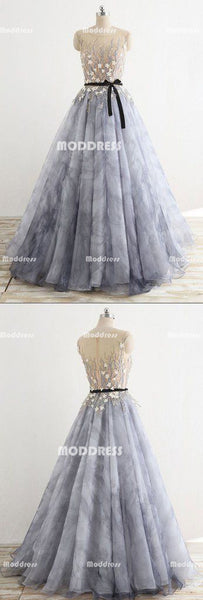 Elegant Applique Long Prom Dresses A-Line Evening Formal Dresses