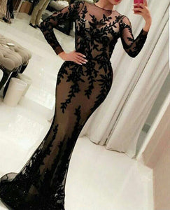 Elegant Applique Long Prom Dresses Beaded Mermaid Evening Dresses Long Sleeve Formal Dresses