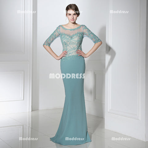 Elegant Applique Long Prom Dresses Mermaid Evening Dresses Half Sleeve Beaded Formal Dresses