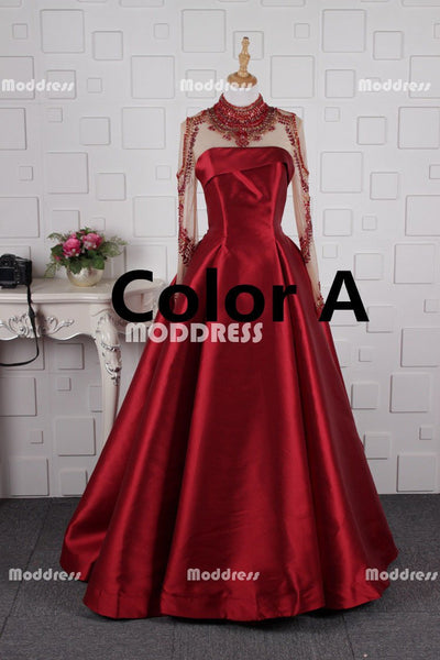 Elegant Beaded Long Prom Dresses Long Sleeve Evening Dresses Satin Ball Gowns Formal Dresses