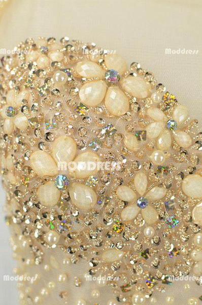 Elegant Beaded Pearls Long Prom Dresses Mermaid Evening Dresses Cap Sleeve Formal Dresses