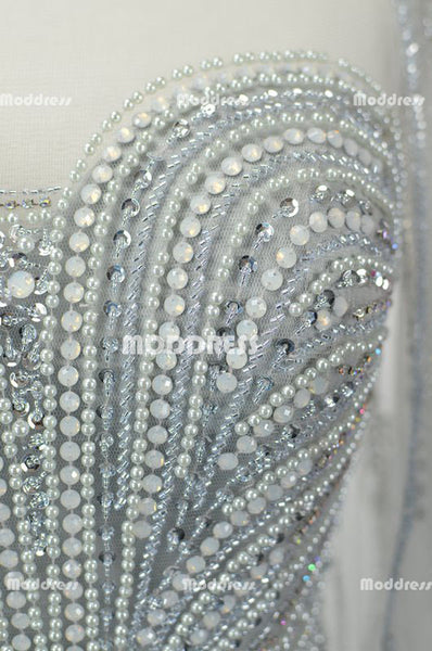 Elegant Beaded Pearls Long Prom Dresses Mermaid Evening Dresses V-Back Formal Dresses