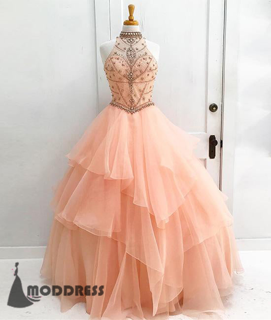 Elegant Beading Long Prom Dress Tulle Ball Gowns Halter Evening Dress,HS390