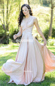 Elegant Convertible Long Prom Dresses Cheap Wrapped Bridesmaid Dresses A-Line Bridesmaid Dresses