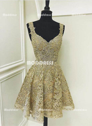 Elegant Gold Lace Short Homecoming Dresses V-Neck Prom Dresses Beading Evening Formal Dresses,HS823