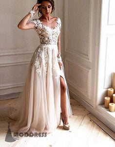 cbaa4944906 Elegant Lace Applique Long Prom Dresses Long Sleeve Evening Dresses Formal  Dresses with High Slit