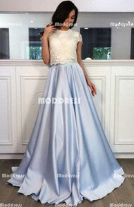 Elegant Lace Long Prom Dresses Satin A-Line Evening Dresses Short Sleeve Formal Dresses