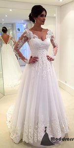 Elegant Lace Long Sleeves Tulle V-neck Wedding Dress  A-Line Bridal Dress,HS562