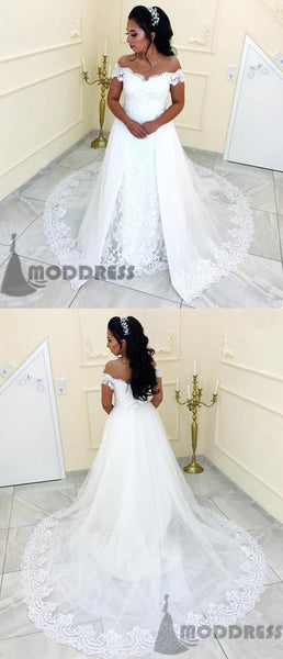 Elegant Lace Wedding Dresses Off the Shoulder Bridal Dresses Sweep Train Bridal Gowns White Long Prom Dress,HS597