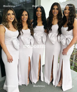 Elegant Long Bridesmaid Dresses Mermaid Bridesmaid Dresses Spaghetti Straps Bridesmaid Dresses with Bowknot