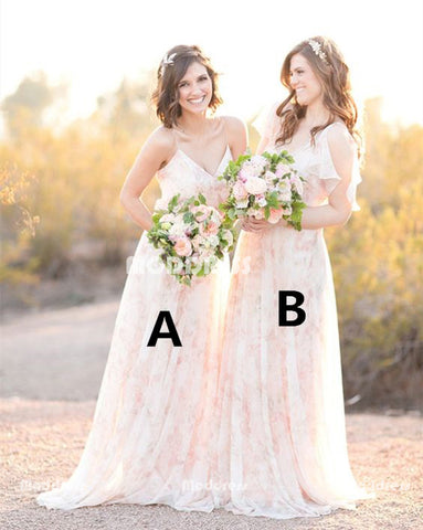 Elegant Long Bridesmaid Dresses V-Neck Bridesmaid Dresses A-Line Bridesmaid Dresses