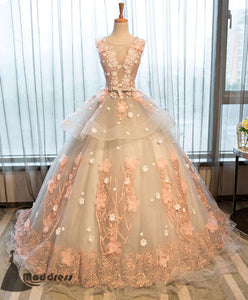 Elegant Long Prom Dress Lace Applique Evening Dress Pink Ball Gowns Formal Dress