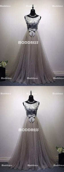 Elegant Long Prom Dresses Tulle A-Line Evening Formal Dresses with Bowknot
