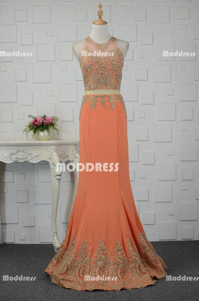 Elegant Mermaid Long Prom Dresses Applique Beaded Evening Dresses Sleeveless Formal Dresses