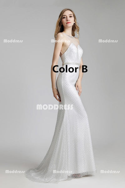Elegant Mermaid Long Prom Dresses Beaded Evening Dresses Sleeveless Formal Dresses
